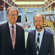 Richard Cabela (left) with his brother Jim (right) before the opening of their first retail showroom in 1991.