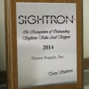 Green Supply won Sightron's Outstanding Sales and Support award.