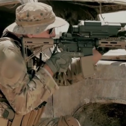 The US Army purchased several TrackingPoint systems for evaluation. A TrackingPoint scope is seen here mounted on an AR-pattern rifle.