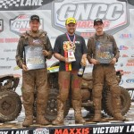 : (From left) Can-Am Renegade 800R X xc racers Kevin Trantham, Rob Smith and Bryan Buckhannon went 2-1-3 in the 4x4 Pro class and on the overall morning podium at round three of the AMSOIL GNCC in North Carolina.