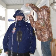 Want to make a little kid's day? Let him dump a pitcher of ice-cold water over his dad's head to test raingear.