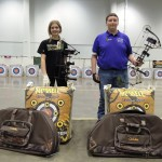 Athens Middle School student Olivia Bean and Logan-Hocking Middle School student Jordan Carrell claimed their prizes after winning a shoot-off during the 2014 National Archery in the Schools Program (NASP) Ohio State Tournament on Friday, Feb. 28.