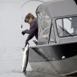 "Anglers reel in an undersized fish or ""shaker"" while fishing for sturgeon. Summer sturgeon retention season in Bonneville Pool is scheduled for four days in June under rules adopted at a joint state hearing of the Oregon and Washington departments of fish and wildlife."