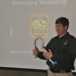 John Farson of the Ohio Division of Wildlife teaches future Passport to Fishing instructors how to implement the popular learn-to-fish program.