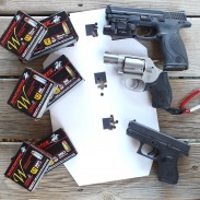 Winchester's new W Train & Defend line offers shooters the perfect combination of affordable training ammo and effective defensive rounds. The author tested the rounds in (from top to bottom) a Smith & Wesson M&P9, Smith & Wesson Model 637 CT, and Glock 42.