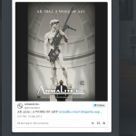 Screenshot of the ArmaLite 'David' ad, in which the hero's traditional sling is replaced with a much more formidable AR-50A1, on Twitter.
