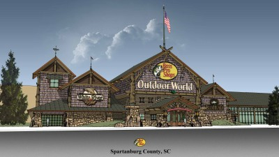 Artist's rendering of Bass Pro Shops Outdoor World in Spartanburg County, S.C.