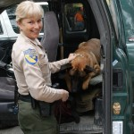 Lieutenant Lynette Shimek and a K-9 companion. Image courtesy James Swan.