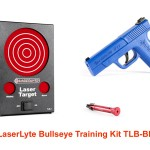 The LaserLyte Bullseye Training Kit includes LaserLyte Trigger Tyme Pistol, an LT-PRO universal pistol laser and the LaserLyte original Laser Trainer Target.