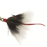 "Does ""seeing red"" make predator fish more aggressive? Mepps' famous spinners feature a scarlet feather ""tail"" to the treble-hook dressings, which some anglers believe mimics the blood trail of an injured minnow—and an easy meal for fish. Image courtesy Mepps."