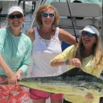Women proudly hold their fish caught on Reel Busy.