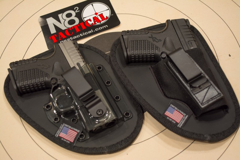 A pair of N82 Tactical holsters with Springfield Armory XD-S pistols.