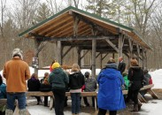 The Pittsville, Wisconsin School District built a timber-frame shelter for its school forest using oak cut from the woods and assembled by students and volunteers.