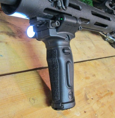 Whichever rifle the author chooses, he'll be mounting this Crimson Trace MVF-515 vertical foregrip to it.