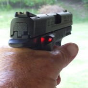 In this image, the Radetec AmmoControl LED Advisor is solid red. That means there's two rounds left in the gun.