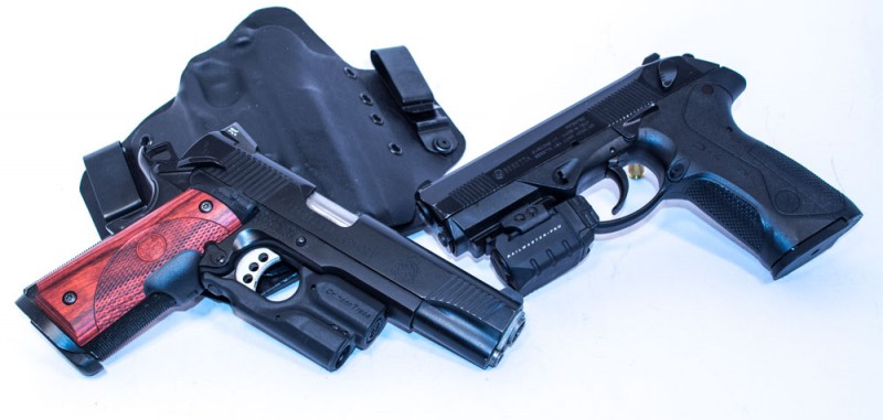 Two of the pistol choice contenders for the author's home-defense/3-gun kit: Springfield Armory TRP 1911 (left) and Beretta PX4 Storm (right).