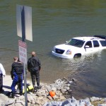 Fortunately, the rear hatch was open, otherwise the Denali would have floated further down river making recovery even more difficult.