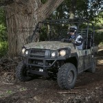 The Kawasaki Mule Pro-FXT has a tight turning radius of 16 feet. That's amazing compared to other multi-passenger machines.