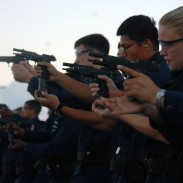 The Beretta M9 in the hands of US Navy sailors.