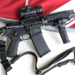 The Smith & Wesson M&P 15 OR after the author finished kitting it out. It's all geared up for the Crimson Trace Midnight 3 Gun Invitational, and home-defense use.