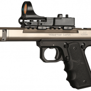 Win a tactical solutions X-Ring Rifle; bid on a Volquartsen custom scorpion target pistol (shown above).