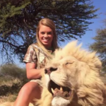 Texas Tech cheerleader Kendall Jones with a lion she harvested.