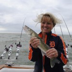 Vickie Brown shows off a Lake Erie walleye.