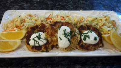 Captains Table Lemony Fish Cakes with Wild Cheff Denny Corriveau
