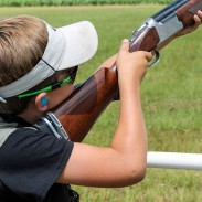 Eleven-year-old Logan Moore of Athens, Alabama, takes aim during Saturday and Sunday's 200-target main event.