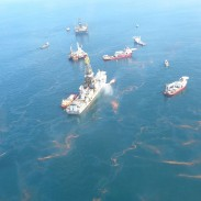 Cleanup ships near the source of the 2010 Deepwater Horizon spill.