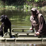 The Mudbob Water Walker is not just a boat for dogs, it can also make wading through muddy waters easier for hunters.
