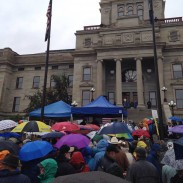 Hunters, anglers, and hikers showed up in the hundreds in front of the Montana State Capitol to support public lands.