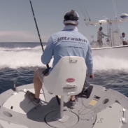 Jeff Lizzio tests how well the  Ultraskiff 360 handles wake from a passing boat.