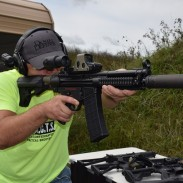 Matt Ohrstrom shoulders the Dakota Tactical D300P. The gun that Stoppiello brought to CRC9 was outfitted with a suppressor and was paired with a select-fire trigger mechanism.