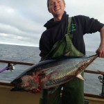 CWU student Sam Ellinger with his bluefin.
