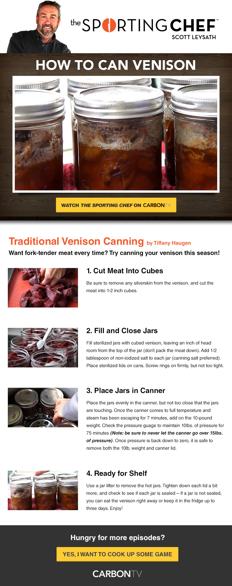 SportingChef How to Can Venison