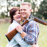 "Stephanie Wehner and Mitch Strobl in their engagement photo that ""promoted gang culture."""