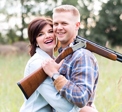 """Stephanie Wehner and Mitch Strobl in their engagement photo that """"promoted gang culture."""""""
