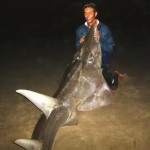 Dean Reddy posing with this massive guitarfish in South Africa.