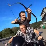 When you don't have a horse, a Harley-Davidson is one way to imitate horseback archery.