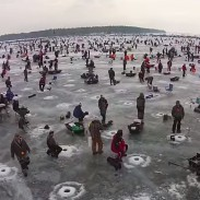 More than 400 volunteers drilled over 20,000 holes in Gull Lake for the world's largest ice fishing contest.