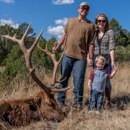 Patrick, his wife Jessica, and their son Liam during his recent hunting trip.
