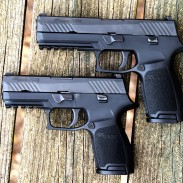 The SIG P320 is a modular, striker-fired pistol chambered in 9x19mm. The P320 at the top is the full-size configuration, the pistol below is the compact version.