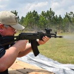 Marco Vorobiev shoots an AK equipped with the ALG Defense AK trigger.