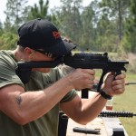 A shooter firing the UZI PRO in full auto.