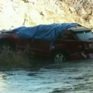 The crashed vehicle after it was recovered by officials.