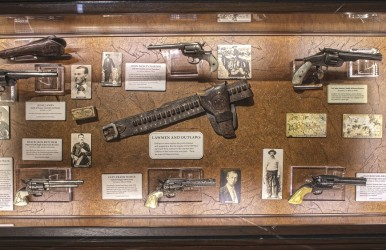 This single display case at the NRA National Sporting Arms Museum contains some of the most fascinating pieces of Western history in the United States.
