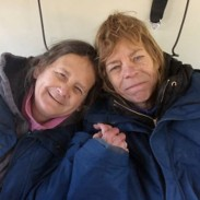 Lee Wright (left) and Leslie Roy (right) in flight after 13 days trapped in the wilderness.