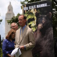 Theodore Roosevelt IV, the great-grandson of President Theodore Roosevelt and a staunch conservationist in his own right, spoke to a crowd at the Louisiana Governor's Mansion on Wednesday regarding black bears.
