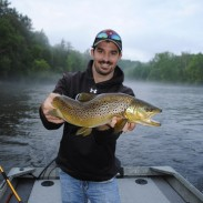 Drew Blackall caght this giant brown trout on the Muskegon River.